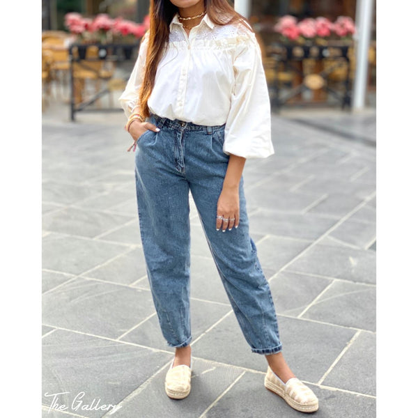 Embroidered ruffle off white shirt