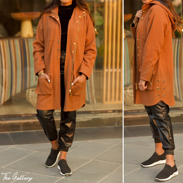 Camel Wool cashmere hooded jacket