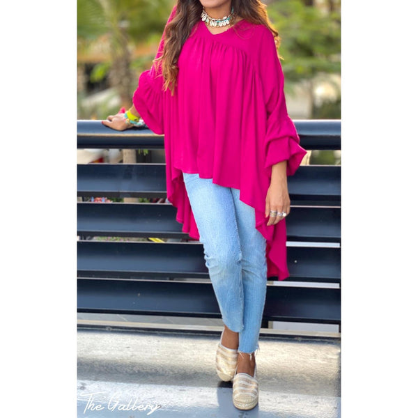 Ruffle draped blouse