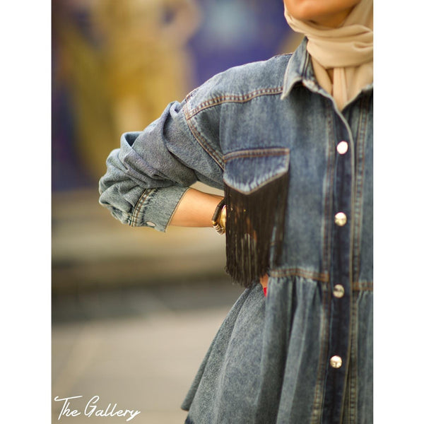 Tasseled blue denim jacket