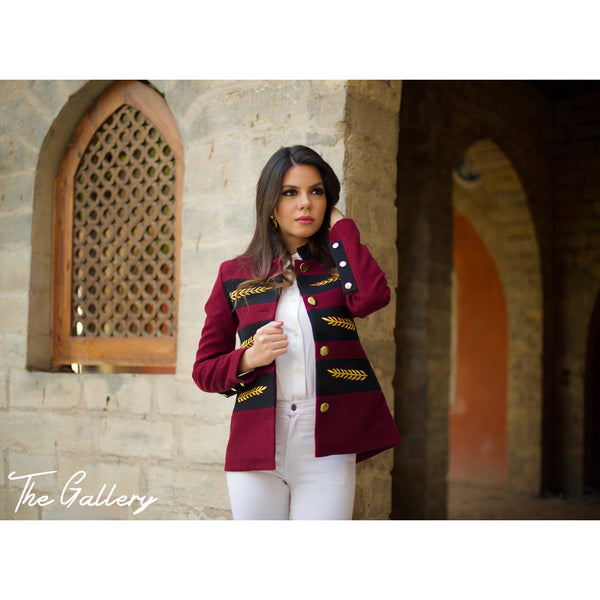 Burgandy embroidered jacket.