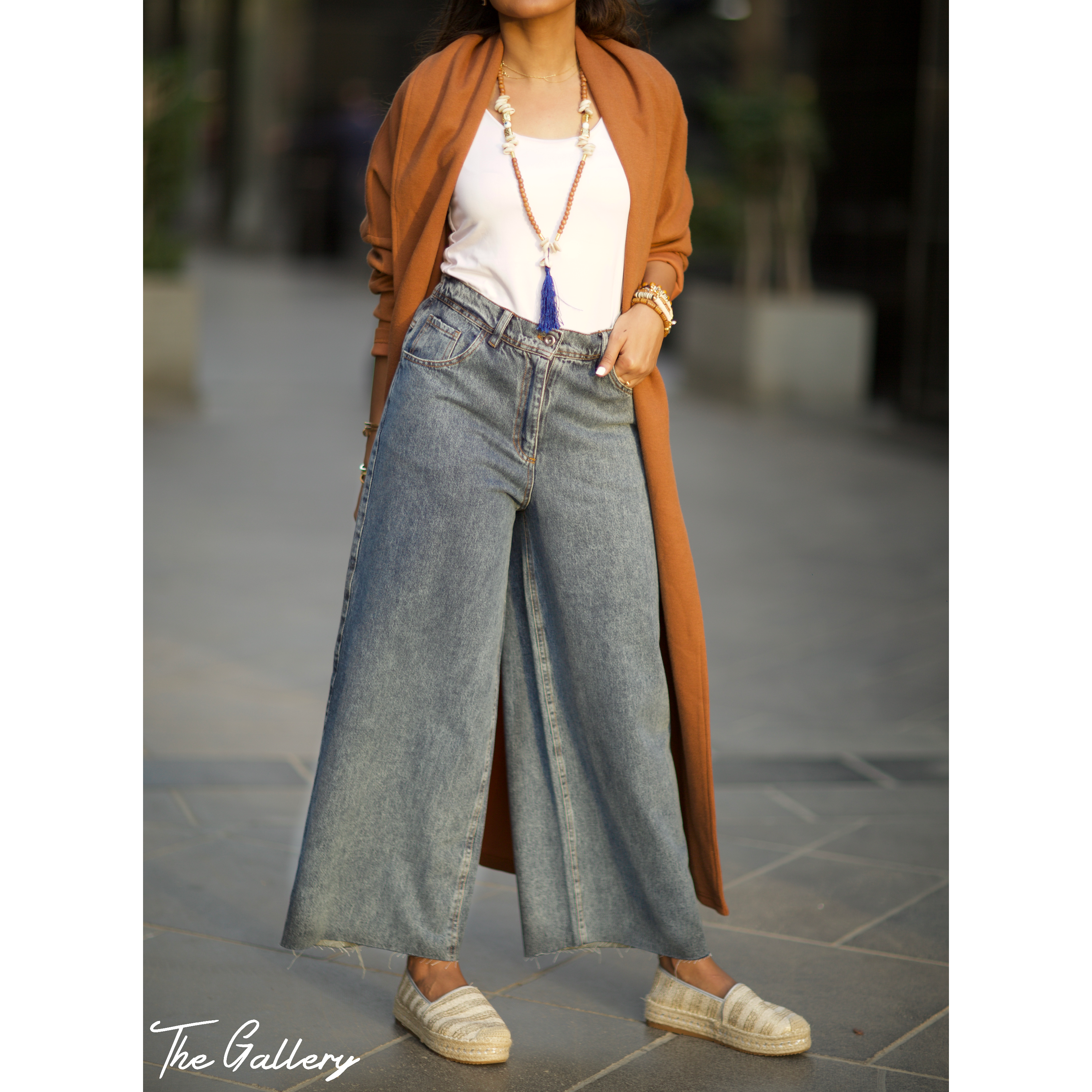 High waisted wide leg denim pants
