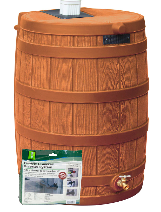 Rain Wizard 50 Gallon Rain Barrel with Diverter Kit