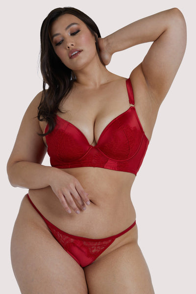 Melina - Soutien-Gorge Bustier Pigeonnant Rouge (Grande Taille)