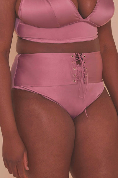 Gabi Fresh, Eagan Blush - Culotte Taille Haute En Satin Rose Tendre