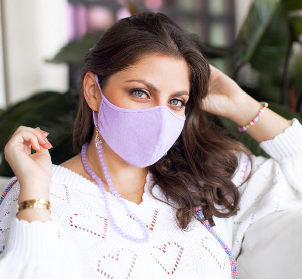 Erica Purple Beaded Mask Necklace With AirPod Attachment