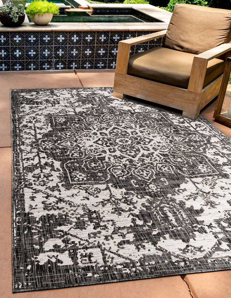 dubai charcoal grey outdoor rug