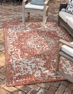 Dubai red rust outdoor rug