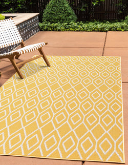 turks & caicos yellow geometrical outdoor rug