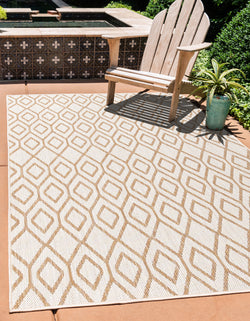 turks and caicos beige geometrical outdoor rug