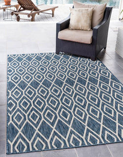 turks and caicos navy blue geometrical outdoor rug