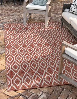 turks & Caicos rust red geometrical outdoor rug