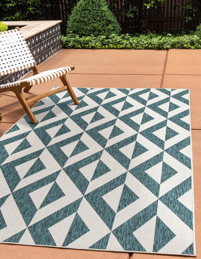 napa teal geometrical outdoor rug