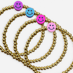 beaded bracelets with smiley face charm in purple, blue, hot pink, or light pink