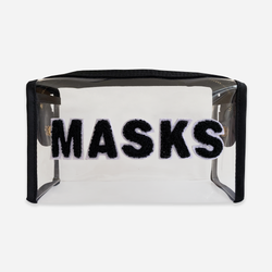 "Clear mask bag with ""masks"" written across in black fuzzy lettering"