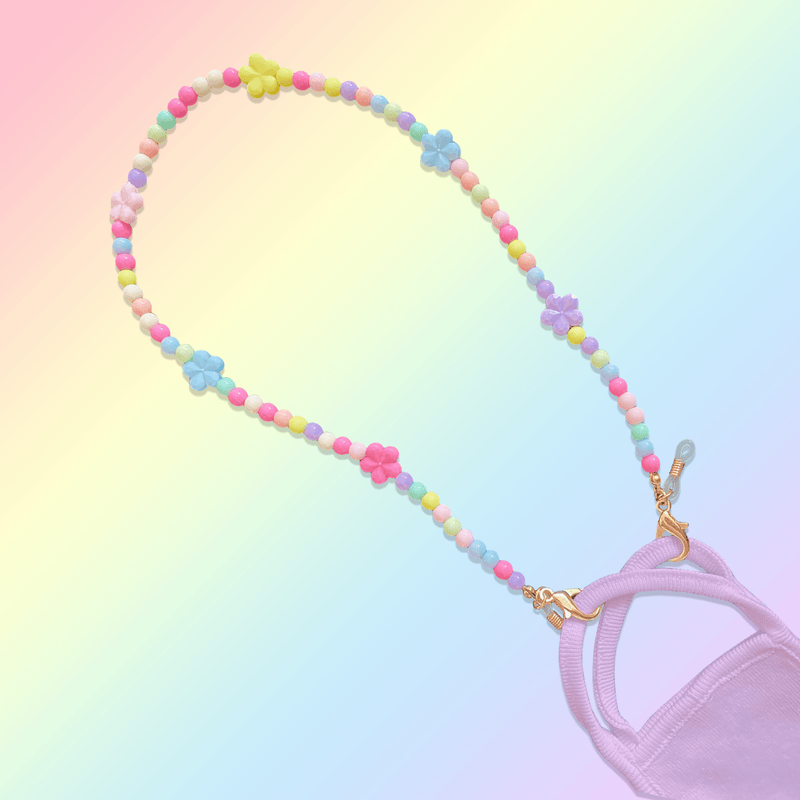 shai pastel beaded mask necklace with flowers