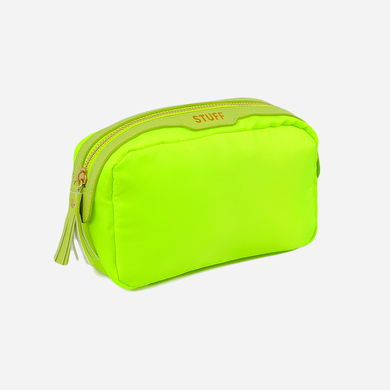 lime green stuff bag cosmetic pouch