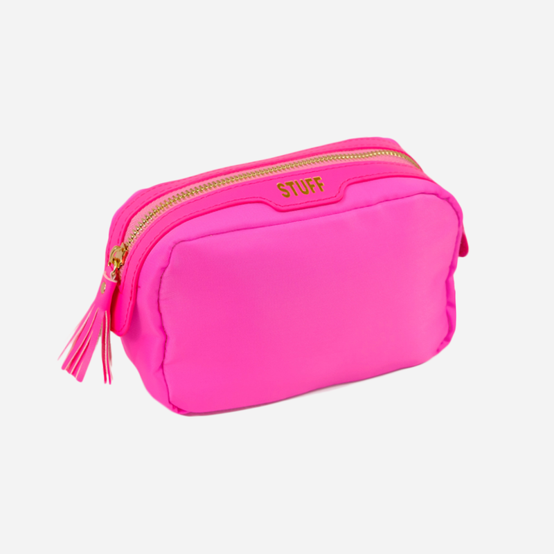 hot pink stuff bag, cosmetic pouch