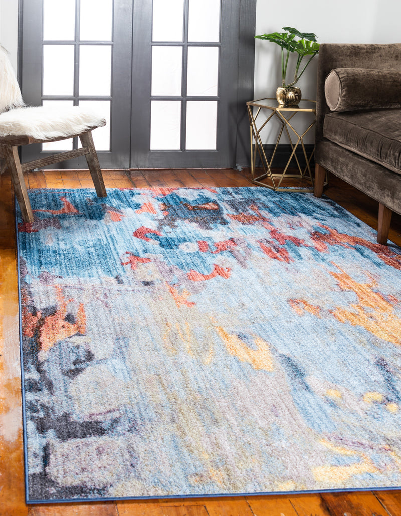 tribeca multicolor rug with the dominant color being blue