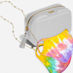 white mask bag, gold diamonds by the yard style necklace, 2 tie-dye masks