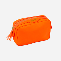 orange stuff bag or makeup pouch