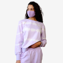 Striped Tie-Dye Pullover - Pastel Lilac