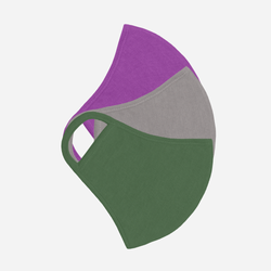 set of 3 2-ply masks in purple, grey and green