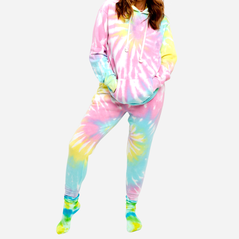 Rainbow multicolor tie-dye pant and hoodie set with built in mask