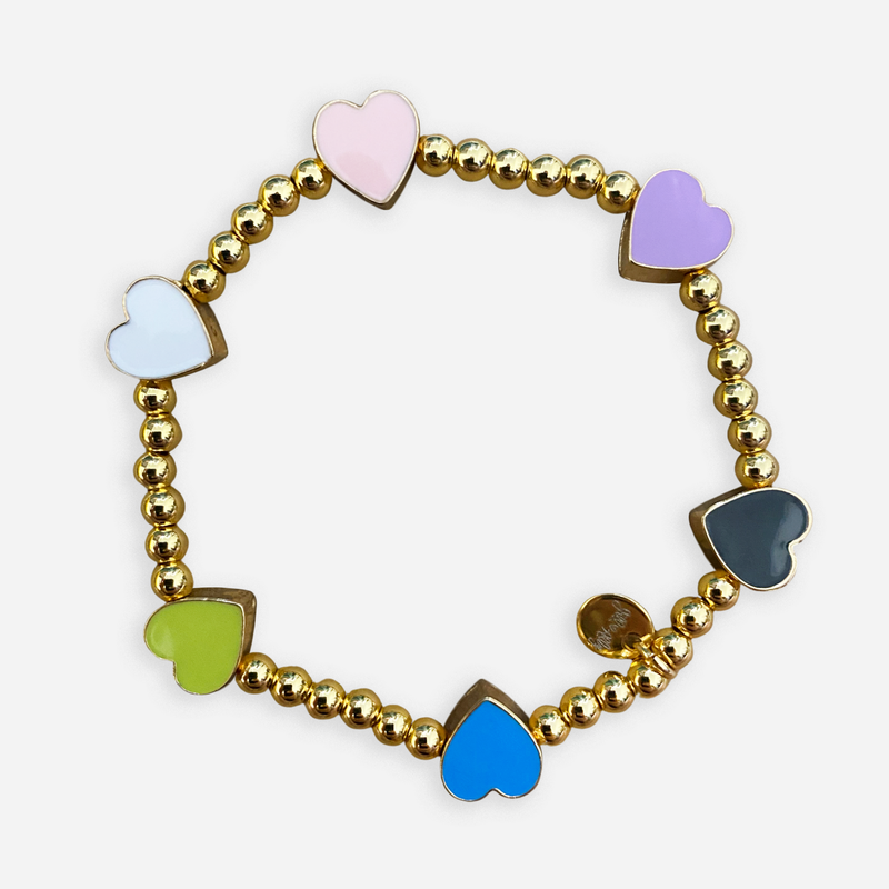 beaded bracelet with multicolor heart charms