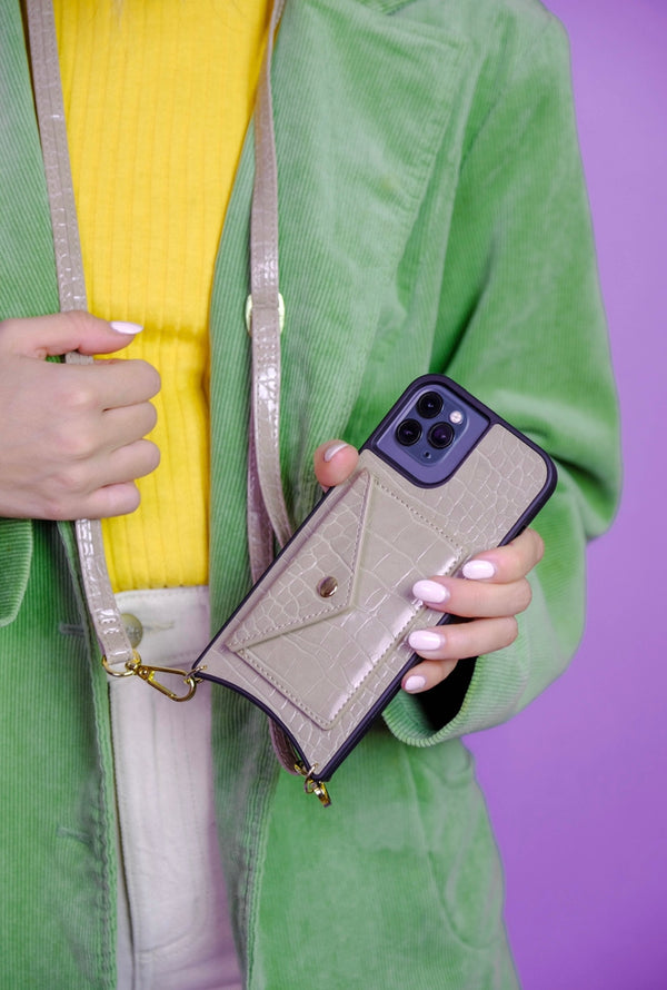 Taupe Phone Case With Detachable Strap