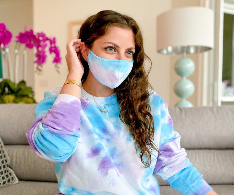 Moody Blue Tie-Dye Fashion Face Mask