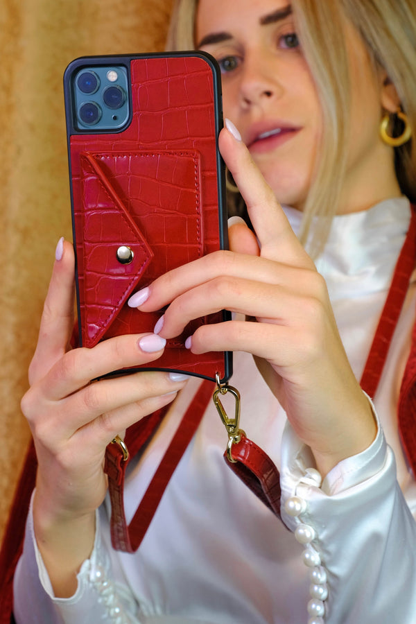Red Phone Case With Detachable Strap