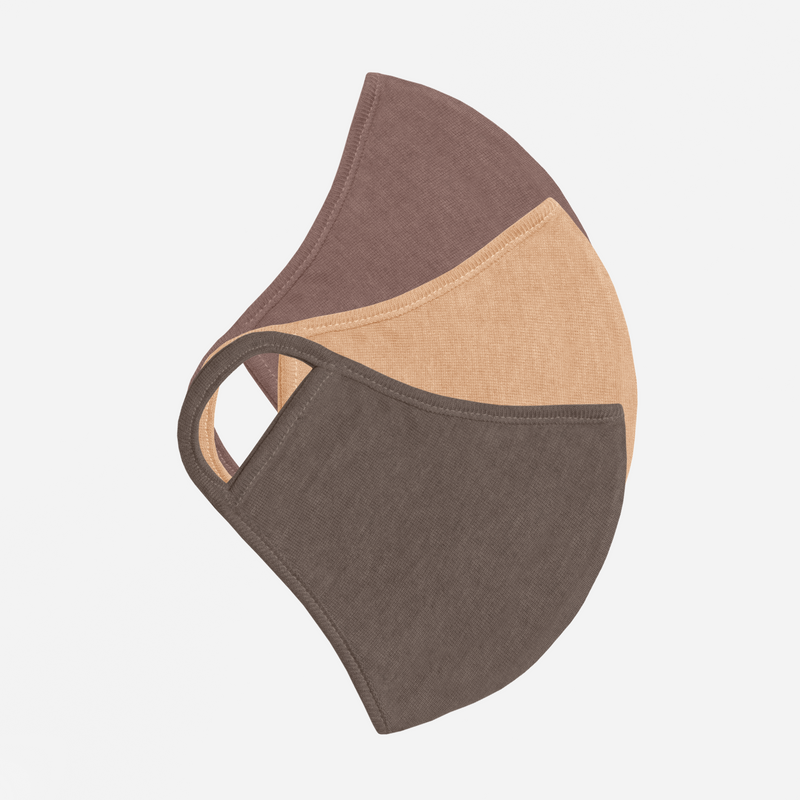 neutral 3-pack mask bundle, brown tan and grey