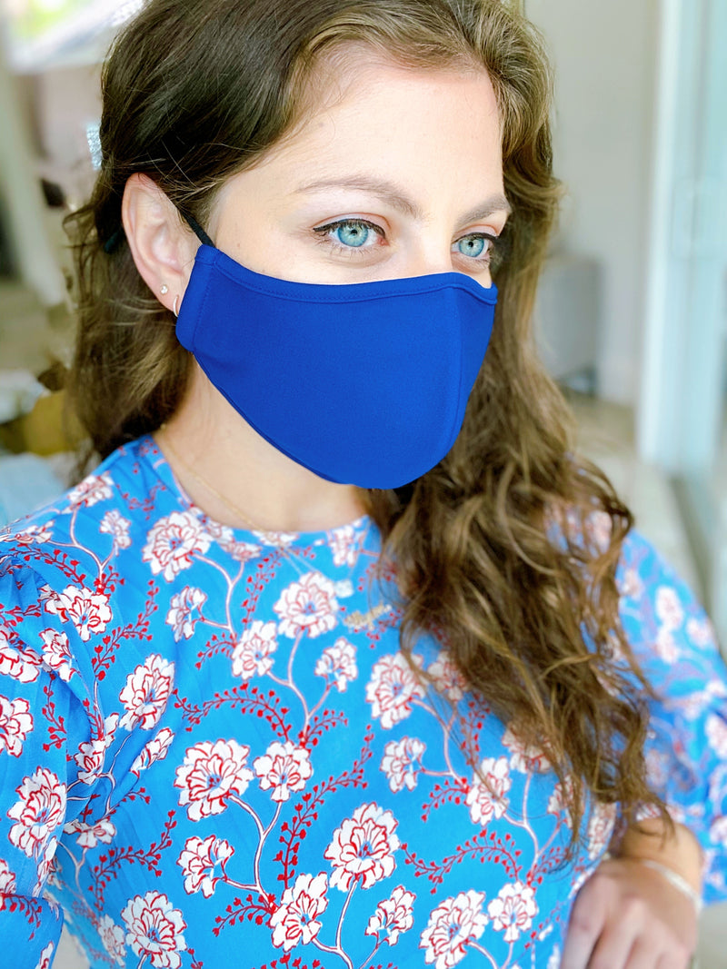 Classic Blue 3-Ply Adjustable Fashion Face Masks, Set of 2