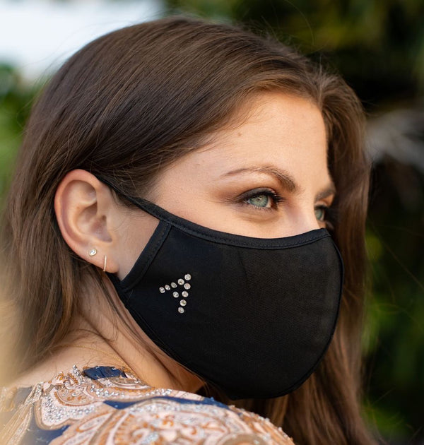 Crystal Initial Black 3-Ply Fashion Face Mask
