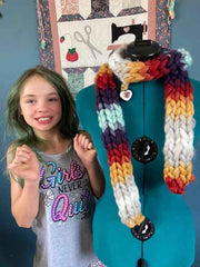 Devi showing off her newest scarf creation