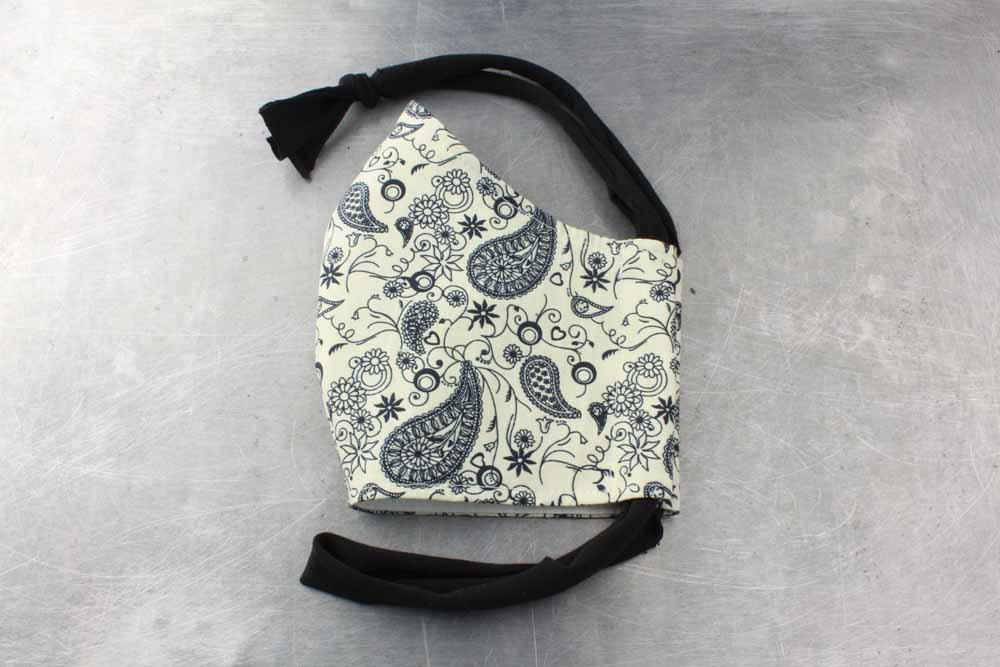Navy Paisley On Cream Cotton Face Mask By Heartbeat Clothing