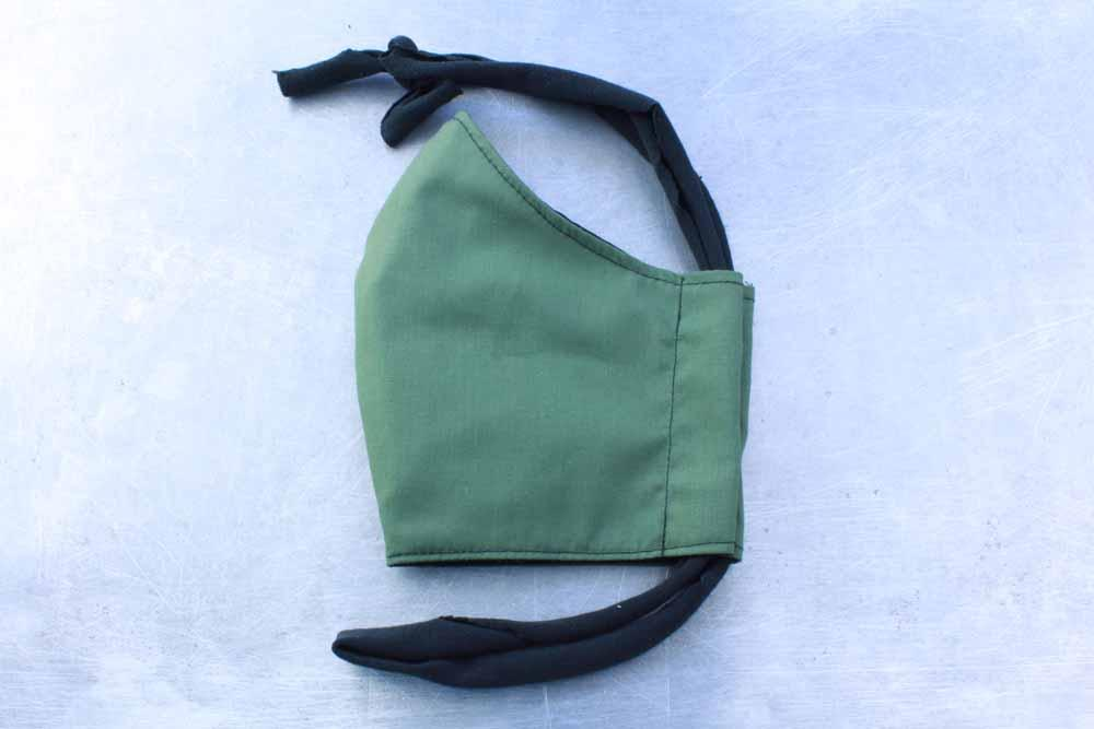 Olive Green Cotton Face Mask By Heartbeat Clothing
