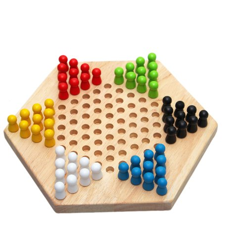 Traditional Hexagon Wooden Chinese Checker