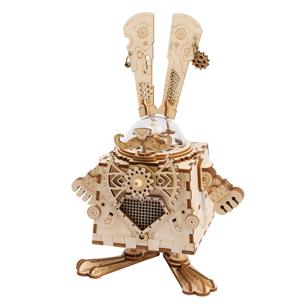 Creative 3D Bunny Wooden Puzzle Music Box