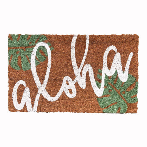 Monstera Aloha Doormat - green & white design
