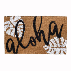 Monstera Aloha Doormat - black & white design