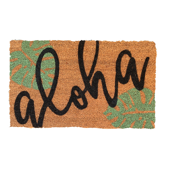 Monstera Aloha Doormat - green & black design