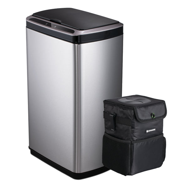 SANIWISE Trash Can Combo Sensor Trash Can 13 Gallon Plus Car Trash Can 1.85 Gallon