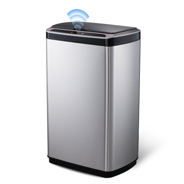 SANIWISE Automatic Sensor Trash Can with Lid 50 Liter/13 Gallon Stainless Steel for Kitchen