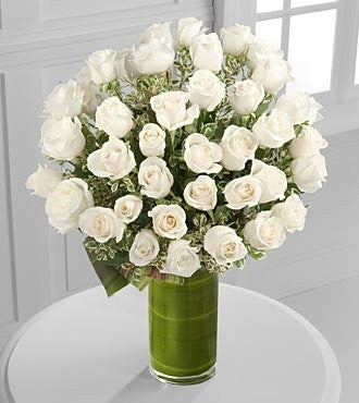 Clarity Luxury White Rose Bouquet - 48 White Long-Stemmed Roses