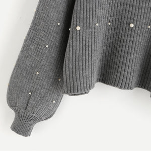 | Pearl Beaded Rib Knit Sweater |