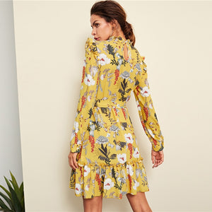 | Yellow Floral Autumn Dress |