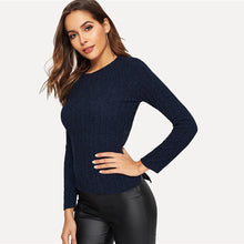 | Dark Blue Rib Knit Top |