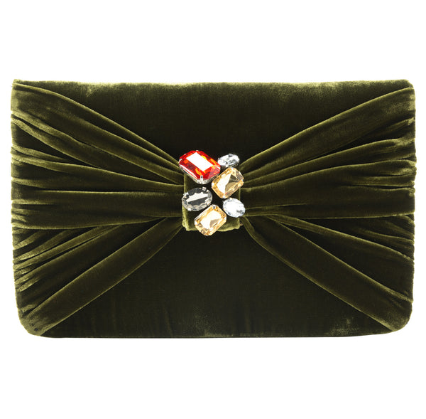 Serafina Gemstone Clutch in Olive